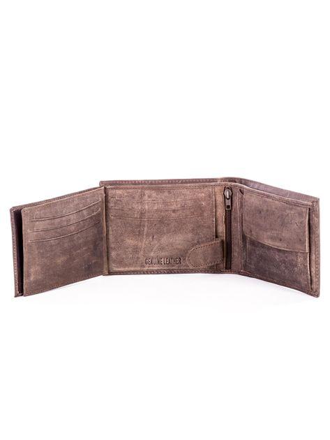 Brązowy skórzany portfel męski z przetarciami                              zdj.                              6