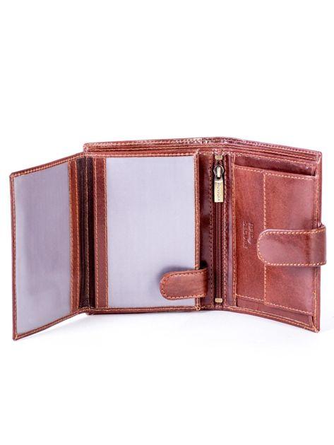 Brązowy skórzany portfel na zatrzask                              zdj.                              5