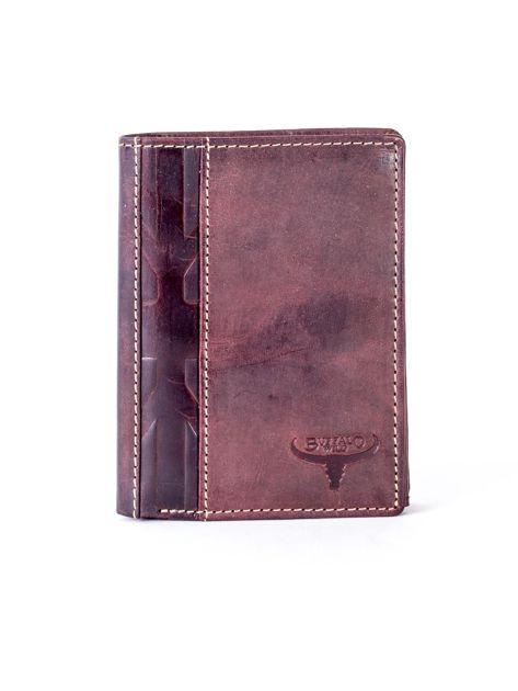 Brązowy skórzany portfel z pionowym tłoczeniem                              zdj.                              1
