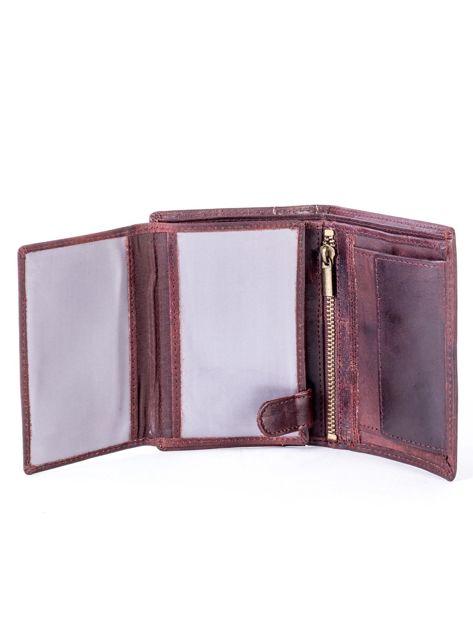 Brązowy skórzany portfel z pionowym tłoczeniem                              zdj.                              5
