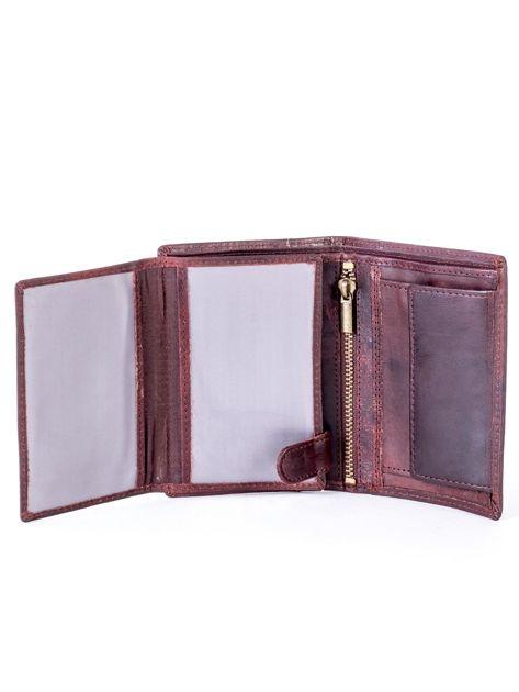 Brązowy skórzany portfel z pionowym tłoczeniem                              zdj.                              7