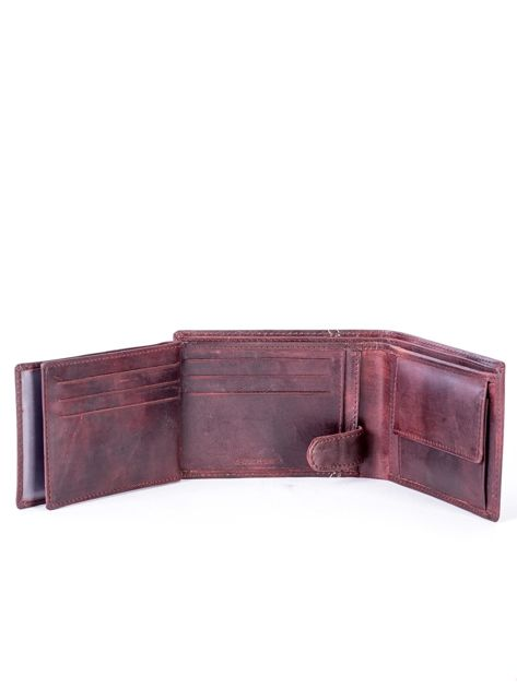 Brązowy skórzany portfel z symetrycznymi przeszyciami                              zdj.                              6