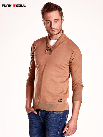 Brązowy sweter męski z guzikami FUNK N SOUL                                  zdj.                                  4