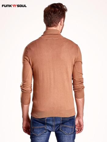 Brązowy sweter męski z guzikami FUNK N SOUL                                  zdj.                                  3