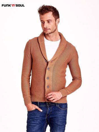 Brązowy sweter męski zapinany na guziki FUNK N SOUL                                  zdj.                                  2