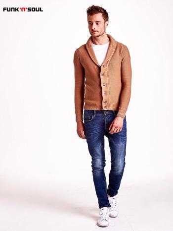 Brązowy sweter męski zapinany na guziki FUNK N SOUL                                  zdj.                                  5