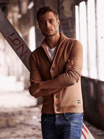 Brązowy sweter męski zapinany na guziki FUNK N SOUL                                  zdj.                                  1