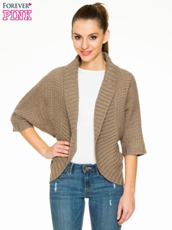Brązowy sweter narzutka z rękawem 3/4                                  zdj.                                  1