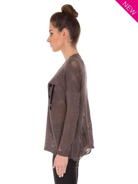 Brązowy sweter z nadrukiem i efektem destroyed                                   zdj.                                  4
