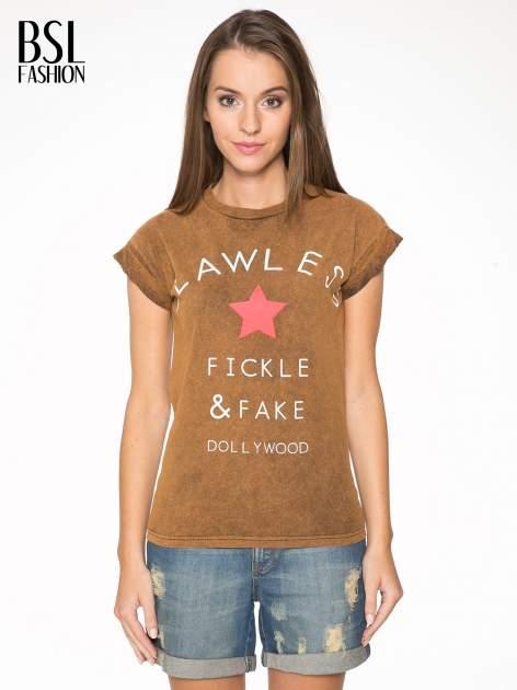 Brązowy t-shirt z nadrukiem DOLLYWOOD