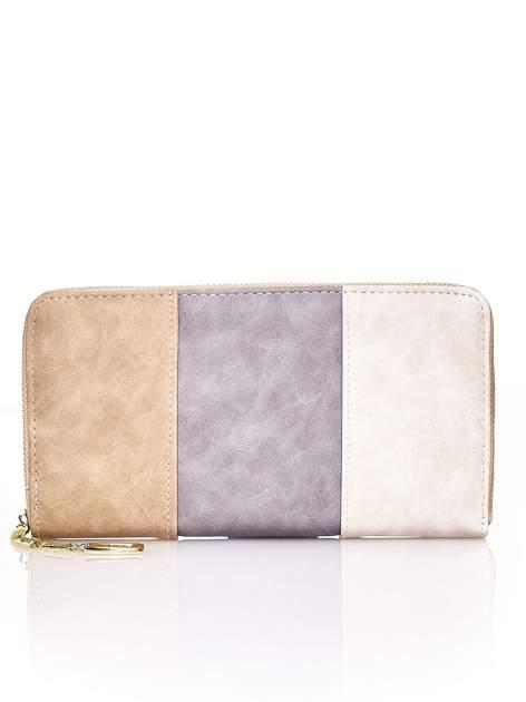 Brązowy trójkolorowy portfel z uchwytem                                  zdj.                                  1