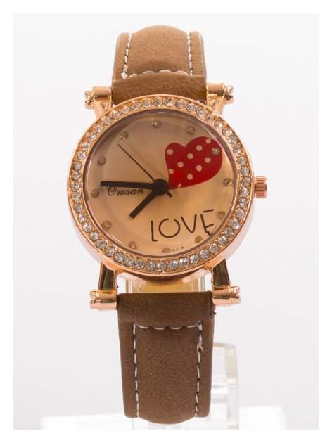 Brązowy zegarek damski na skórzanej bransolecie