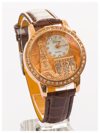 Brązowy zegarek damski z cyrkoniami na skórzanym pasku                                  zdj.                                  1