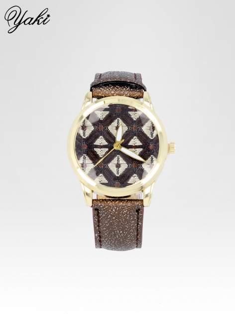 Brązowy zegarek damski ze złotą kopertą i etno tarczą