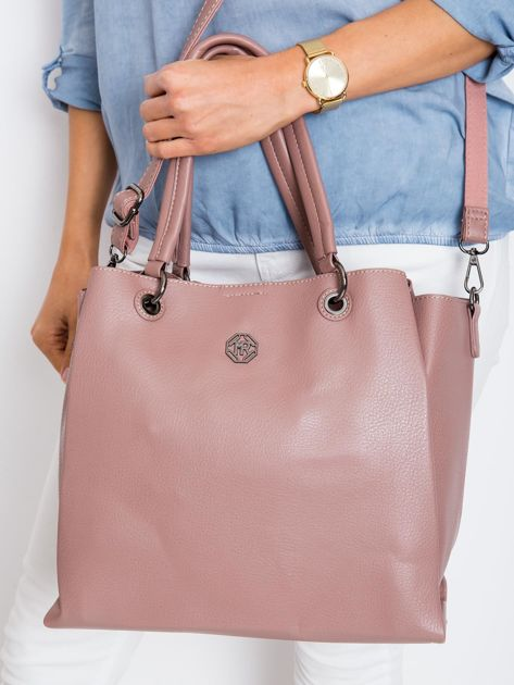 Brudnoróżowa damska torba z ekoskóry                              zdj.                              2