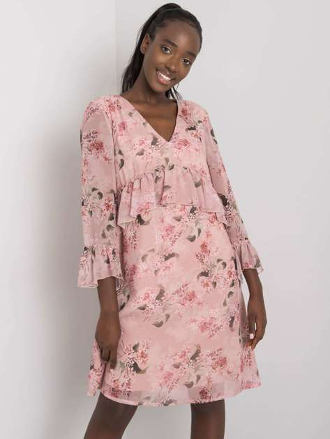Brudnoróżowa sukienka w kwiaty z falbaną Dijana