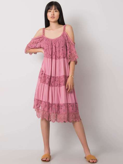 Brudnoróżowa sukienka z koronką Fiona OCH BELLA