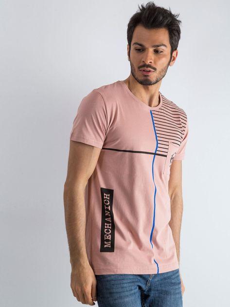 Brudnoróżowy męski t-shirt w paski z napisem