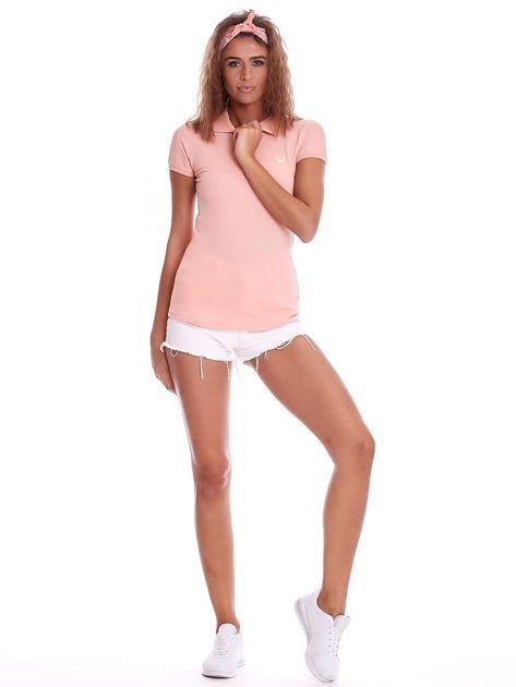 Brzoskwiniowa damska koszulka polo                              zdj.                              4
