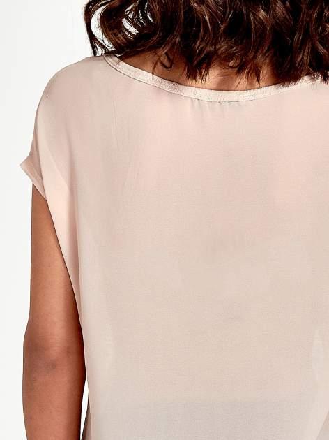 Brzoskwiniowy t-shirt z kryształkami                                  zdj.                                  6