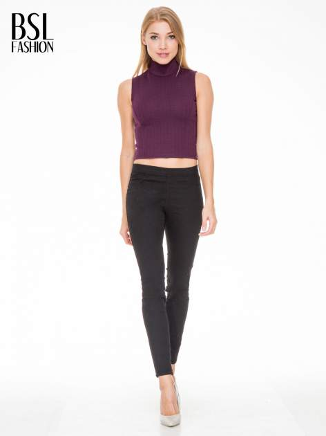 Burgundowy crop top z golfem                                  zdj.                                  2