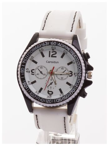 CARSIDUN Biały męski zegarek z ozdobnym chronometrem i tachometrem                                  zdj.                                  1