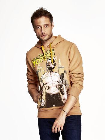 Camelowa bluza z kapturem z motywem Popeye                                  zdj.                                  1