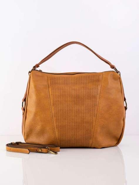 Camelowa damska torba z odpinanym paskiem
