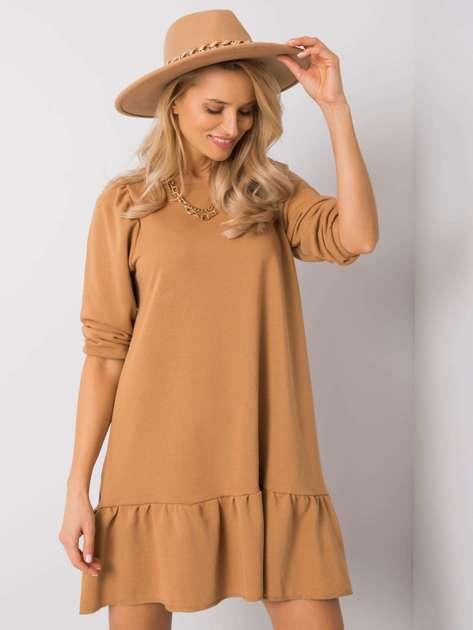 Camelowa sukienka Adoria RUE PARIS
