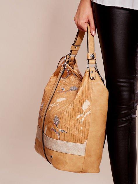 Camelowa torba z łączonych materiałów w stylu japońskim                              zdj.                              3