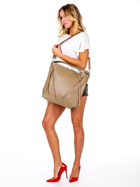 Camelowa torba z ukośnymi suwakami                              zdj.                              5