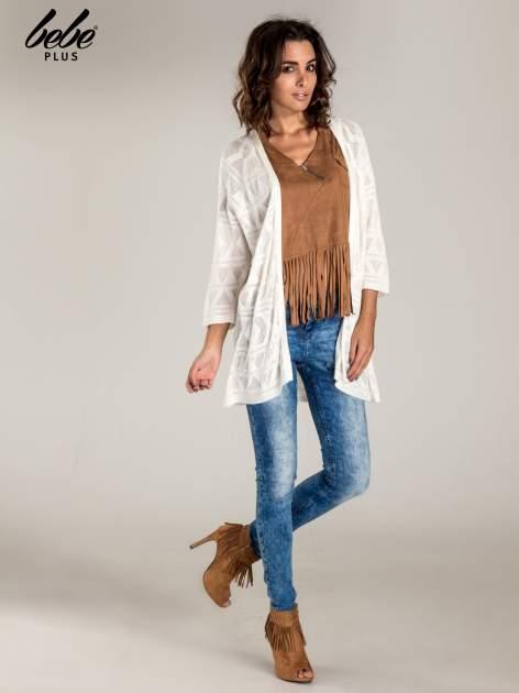 Camelowa zamszowa bluzka z frędzlami                                  zdj.                                  2