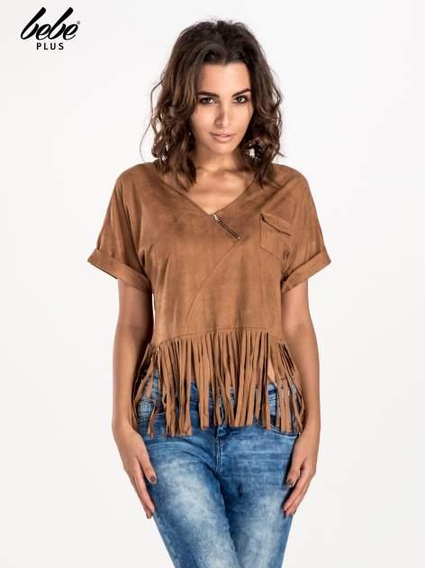 Camelowa zamszowa bluzka z frędzlami