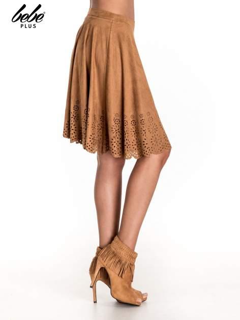 Camelowa zamszowa spódnica w stylu boho                                  zdj.                                  3