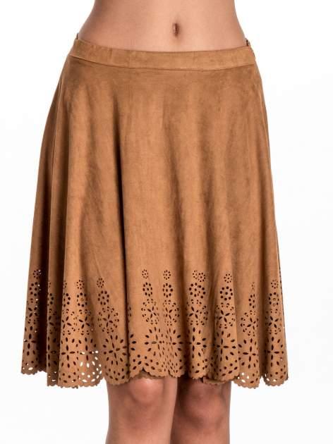 Camelowa zamszowa spódnica w stylu boho                                  zdj.                                  5