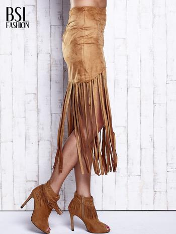 Camelowa zamszowa spódnica z frędzlami                                  zdj.                                  3