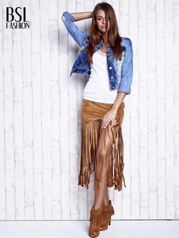Camelowa zamszowa spódnica z frędzlami                                  zdj.                                  4