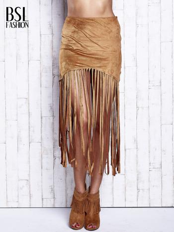 Camelowa zamszowa spódnica z frędzlami