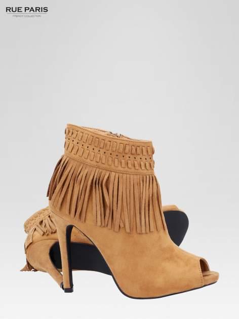 Camelowe botki faux suede Suzie open toe z frędzlami w stylu boho                                  zdj.                                  5