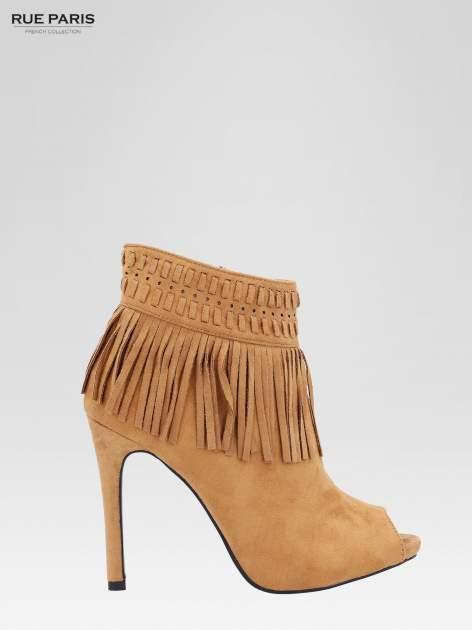 Camelowe botki faux suede Suzie open toe z frędzlami w stylu boho