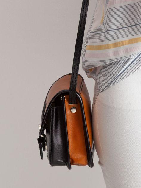 Camelowo-czarna damska torebka                              zdj.                              3