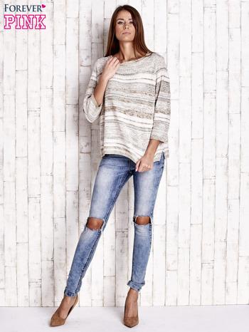 Camelowy dziergany sweter z rękawem 3/4                                  zdj.                                  2