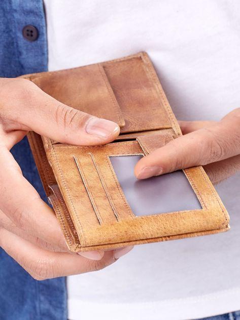 Camelowy portfel męski ze skóry naturalnej                              zdj.                              5