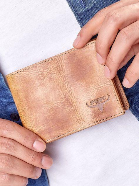 Camelowy portfel męski ze skóry naturalnej                              zdj.                              6