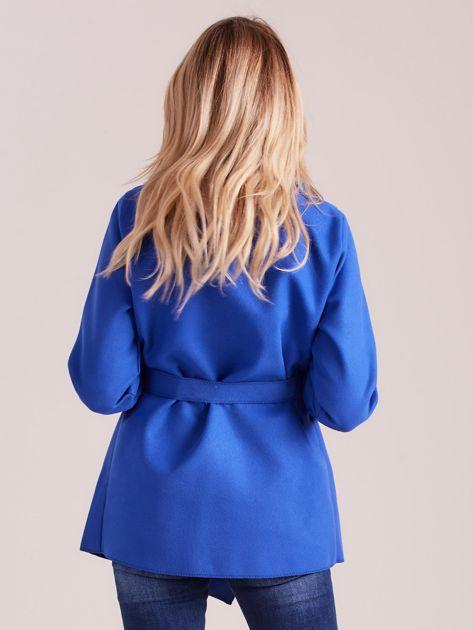 Chabrowy płaszcz z wiązaniem i kieszeniami                              zdj.                              2