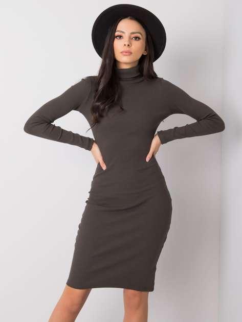 Ciemna khaki sukienka Livia RUE PARIS