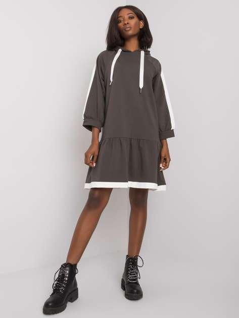 Ciemna khaki sukienka dresowa Georgetta