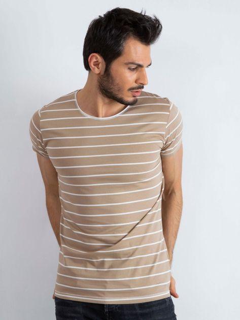 Ciemnobeżowa koszulka męska Foreign