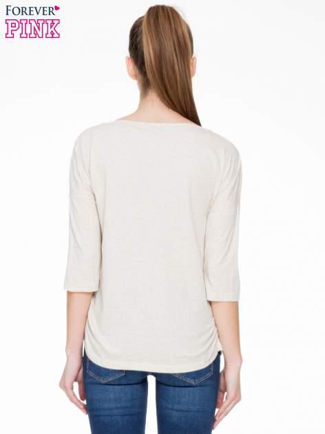 Ciemnobeżowa luźna bluzka z rękawem 3/4                                  zdj.                                  4