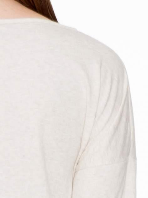Ciemnobeżowa luźna bluzka z rękawem 3/4                                  zdj.                                  6